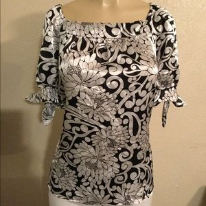Large, Black & White Silky Blouse